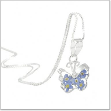 Remembrance Necklace, Forget Me Not Collection Butterfly (Optional Engraving) | Someone Remembered